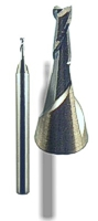 Carbide 2-flute stub end-mill for cutting precious metals, copper alloys and alluminum