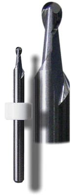 2-flute carbide stub ball-nose end mill for metal and composite carving, shaping and cutting