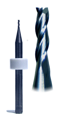 Carbide 3-flute end mills for maching hardwoods, composites and reconstituted minerals