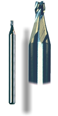 Carbide 4-flute stub end mills for ferrous metals and composites